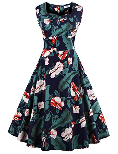 [Vintage Cut Out Polka Flower Pattern 50's Bridesmaid Cocktail Dress GREEN 2XL] (80s Formal Costume)