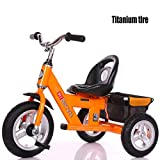 JYY 3 Wheeler Safety Design Kids Trike Tricycle Ride-On Bike With Adjustable Seat And Large Back Storage Basket,2-5 Years,Yellow