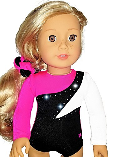 American 18 inch Doll Clothes for Girls | Hot Pink White Black Gymnastics Set with Leotard and Hair Accessories | by DOLL CONNECTIONS | Doll Clothes Done Right! (2 Piece (Ariel Bride Costume)