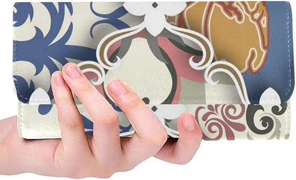 Patchwork Personalizado único Estilo clásico de Blueredorangewhite Cartera Triple para Mujer Monedero Largo Estuche para Titular de Tarjeta de crédito Bolso: Amazon.es: Equipaje