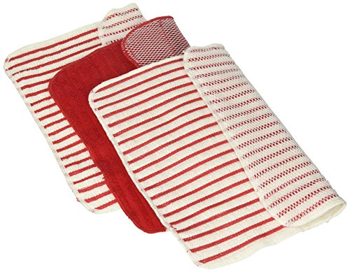 UPC 064180148655, Now Designs Scrubby Stripe Dishcloths, Red, Set of 3