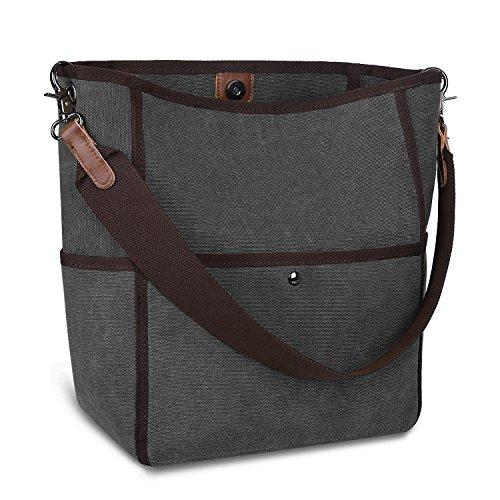 S-ZONE Women's Canvas Shoulder Bag Casual Handbag Tote Satchel Bucket Bag (Grey) (Bucket Tote Handbag)