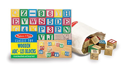 Melissa & Doug Deluxe Wooden ABC/123 Blocks Set With Storage Pouch (50 pcs; colors may vary)