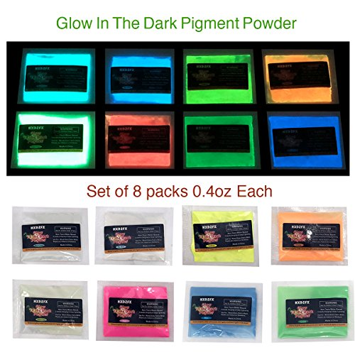 Glow In The Dark Pigment Powder Luminous powder(Set of 8 packs 0.4oz Each) Safe Non-Toxic,For Slime Nails,EDM Music Festivals,Resin,Concerts,Halloween (8 Colors)