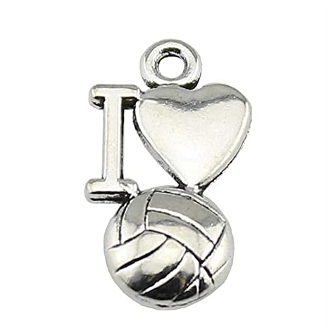 NEWME 60 unids 16x9mm I heart voleibol Charms Colgante Para ...