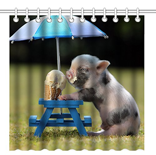 Wknoon 72 x 72 Inch Shower Curtain With Hooks, Funny Humor Pet - A Cute Pig Eats An Icecream Cone Under An - Curtain Shower Pigs