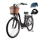 Nakto 26' 250W Cargo-Electric Bicycle 6 speed e-Bike 36V Lithium Battery Aadult/Young Adult-Women (Black)