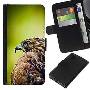 KingStore / Leather Etui en cuir / LG Nexus 5 D820 D821 / Plumes de Nature Oiseau Prey