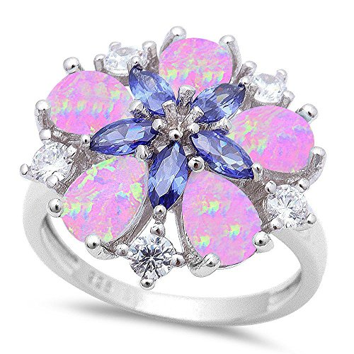 Oxford Diamond Co Lab Created Pink Opal, Simulated Tanzanite, Cz Flower .925 Sterling Silver Ring Size - Fire Ring Tanzanite Opal