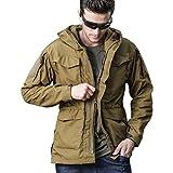 Men Outdoor Jacket Casual Tactical Waterproof Army Military Windbreaker Spring Rain Coat (XL, Khaki)