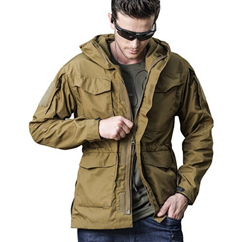 Men Outdoor Jacket Casual Tactical Waterproof Army Military Windbreaker Spring Rain Coat (XL, Khaki) ()