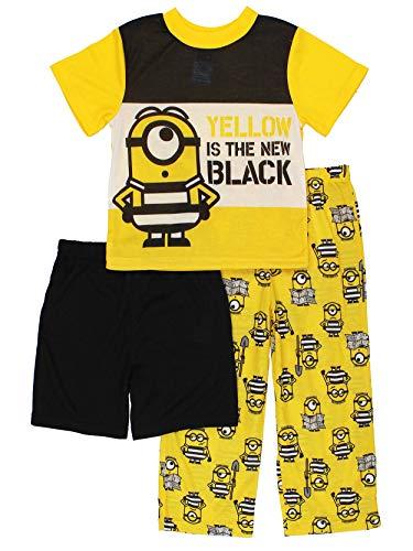 Despicable Me 3 Minions Boys 3 piece Pajamas Set (6, Yellow/Black)