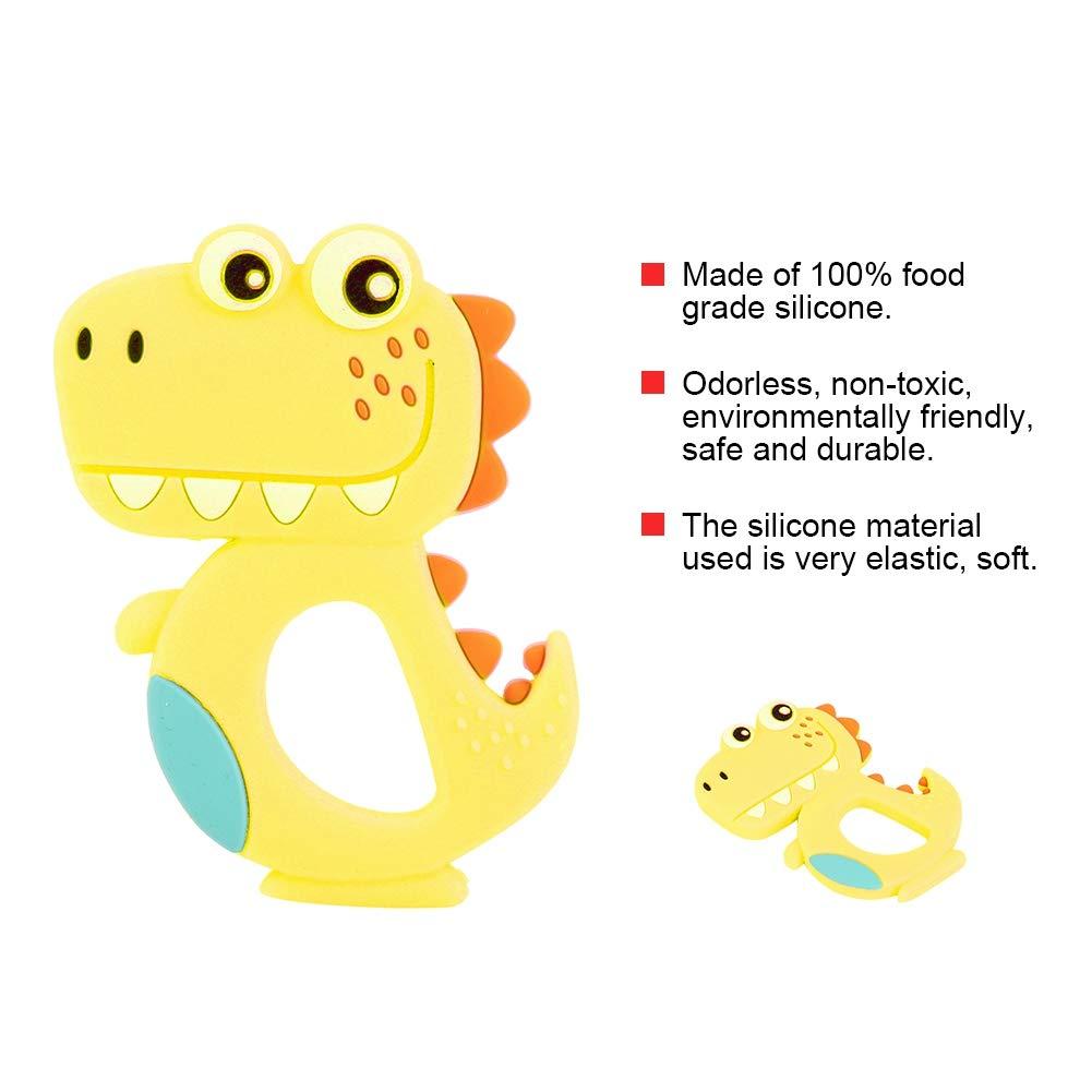 2 UNIDS Beb/é de Silicona Mordedor Dinosaurio de Dibujos Animados Beb/é Molares Mordida Dentici/ón Masticar Rosa Amarillo Verde Azul Gris Juguetes Amarillo