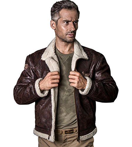 FREE SOLDIER Men Classic Bomber Jacket Autumn Winter Heat-conserving Leather Fur Tactical Pilot Jacket (Brown, X-Large) by FREE SOLDIER