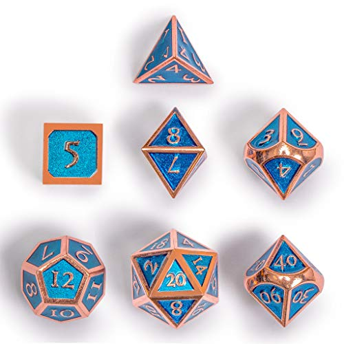 Yellow Mountain Imports Collector's 7 Rose Gold on Blue Metal Dice Set with Storage Case, Arabasque - D4, D6, D8, D10 (0-9 and 00-90), D12, and D20