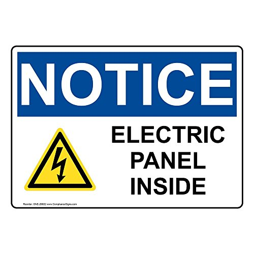 ComplianceSigns Vinyl OSHA NOTICE Electric Panel Inside Labels, 5 x 3.50 in. with English Text and Symbols, White, pack of 4