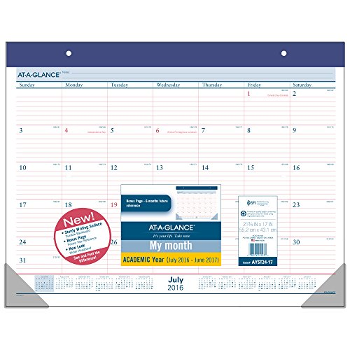 "AT-A-GLANCE Academic Year Monthly Desk Pad Calendar, July 2016 - June 2017, 21-3/4""x17"", 2-Color (AYST24-17)"
