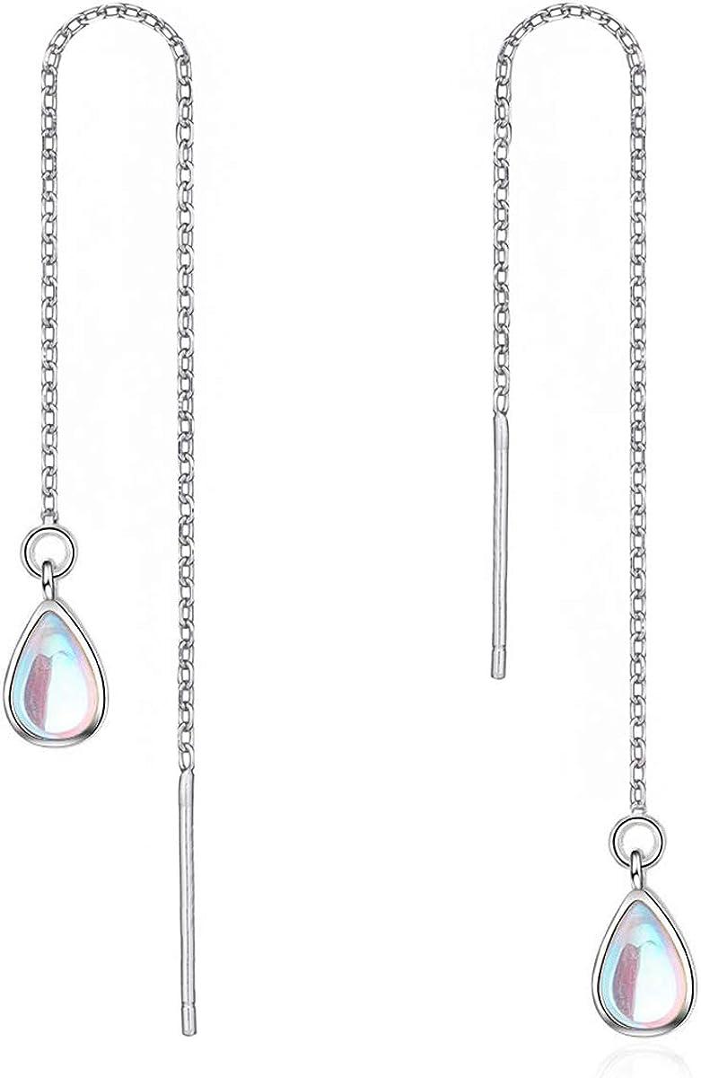 Long sterling silver beaded chain threader earrings colorful dangle ear threads