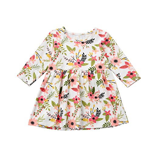 oral Printed T-Shirt Dress Toddler Fun Dresses for Fall Holiday Party Pageant (18M, Flower) ()
