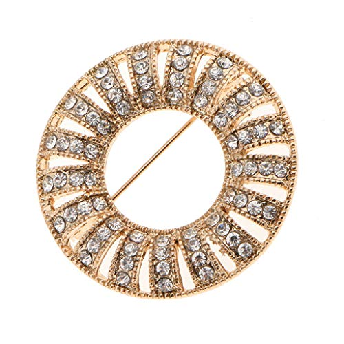 Round Crystal Rhinestone Breastpin Womens Wedding Party Brooch Pin Gifts | Color - Gold
