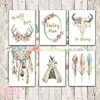Boho Nursery Print Wall Art Set of 6 Antlers Dreamcatcher Feathers Bull Skull Name Monogram Watercolor Gold Floral Baby Girl Room Prints Bohemian Decor
