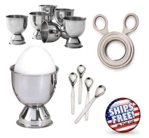 2.5' High Flow Cats (NEW STAINLESS STEEL SOFT BOILED EGG SEt - 6 Cups, 4 Spoons & Easy Egg Topper Cutter)