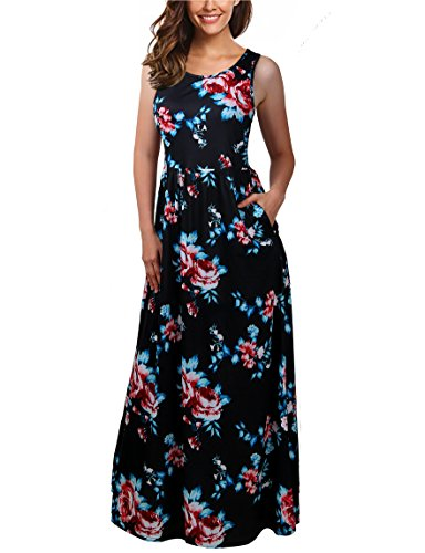 FINMYE Women's Sleeveless Floral Beach Dress Maxi Long Dresses with Pockets (Medium, Black ()