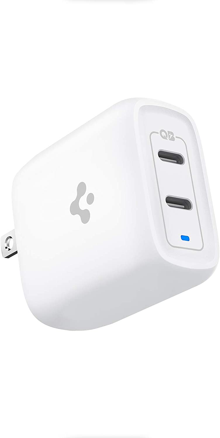 USB C Charger, Spigen 40W Dual USB C Wall Charger [GaN Tech] 30W for Each Port Type C Foldable Plug USB-C Power Adapter PD Fast Charging for iPhone 12 Pro Max 12 Mini MagSafe Duo iPad Pro MacBook Air