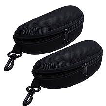 TraderPlus 2Pcs Zipper Glasses Case Sunglasses Storage Box Black, Belt Loop and Clip