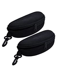 TraderPlus 2PCS Portable Travel Zipper Sunglasses Hard Case Eyes Glasses Box Bag