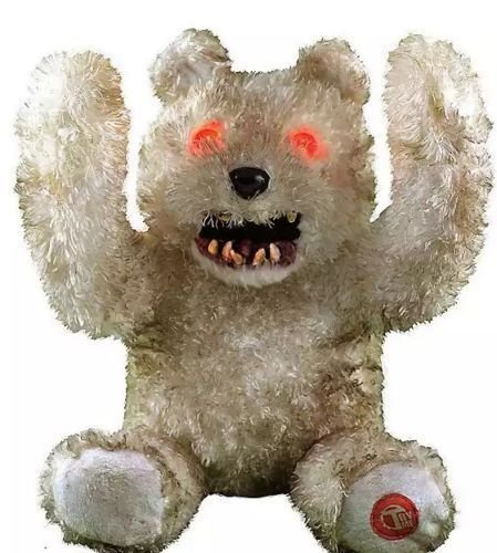 10.5 Inch Animated Light Up Peek-A-Boo Monstrous Teddy Bear Halloween Plush - Scary Phrases -