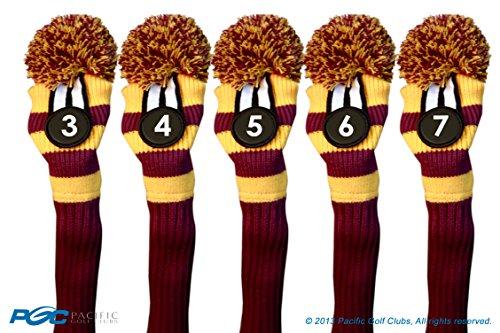 Majek #3, 4, 5, 6, & 7 Hybrid Combo Pack Rescue Utility Purple & Yellow Golf Headcover Knit Pom Pom Retro Classic Vintage Head Cover by Majek (Image #7)