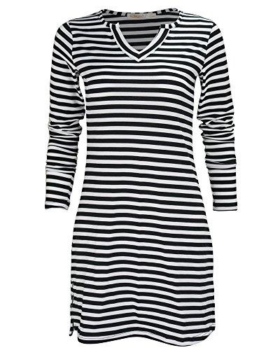 GOOTUCH - Camiseta de manga larga - Rayas - Clásico - para mujer negro