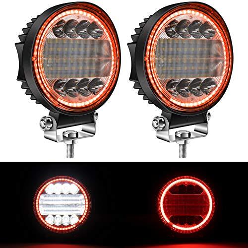 """Yorkim 4.5"""" LED Pods, 2-Pack Off Road LED Light Bar Spot Flood Combo Round Red Angel Eye-Shape Work Light Fog Lights Driving Lights for Truck Jeep SUV ATV UTV Pickup"""