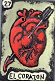 Mexican Loteria, Carved and Painted Wooden Wall Art, El Corazon (#27), Handmade Wall Relief Sculpture, measure: approx. 8 X 11'' Made to Order (Allow 1- 4 weeks for production & delivery)
