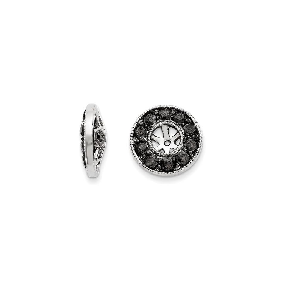 14k White Gold Black Diamond Earrings Jackets