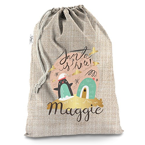Penguin Igloo Santa Is Here Personalised X-Large Hessian Christmas Santa Sack Mail Post Bag (Santa X-large)