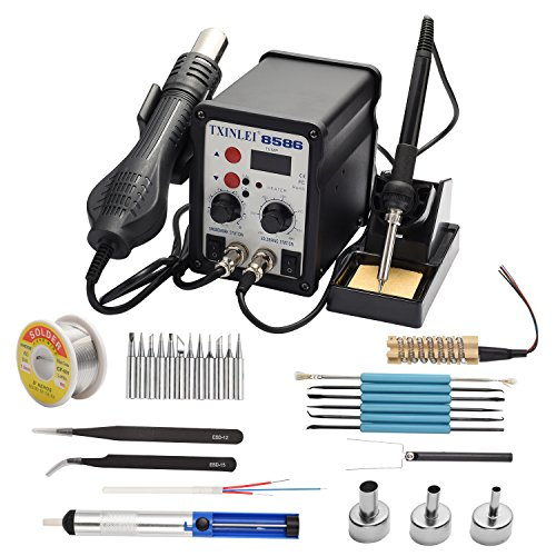 TXINLEI 8586 110V Solder Station, 2 in 1 Digital Display SMD Hot Air Rework Station and Soldering Iron, 12pcs Different Soldering Tips,Solder Wire,Tweezers,Desoldering Pump,700W 480℃ (Best Cheap Soldering Station)