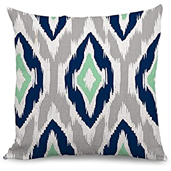 wendana decorative ikat pillow covers blue geometric throw pillow covers 18 x 18 farmhouse decor accent pillows cushion covers for sofa
