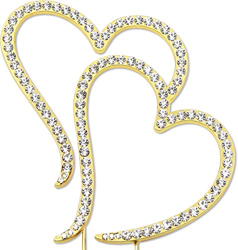 (Double Heart Cake Topper, Wedding Anniversary Engagement Decorations, Crystal Rhinestone Gold)