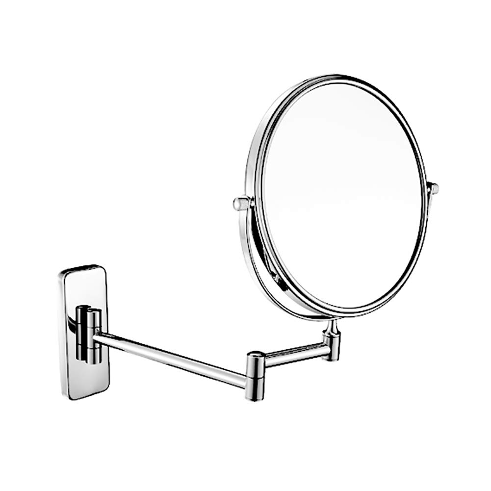 Free Punch Hotel Wall-mounted Makeup Mirror Folding Telescopic Rotation Bathroom Wall Hanging Double-sided Magnifying Beauty Vanity Mirror (Color : Stainless steel, Size : 6 inches)