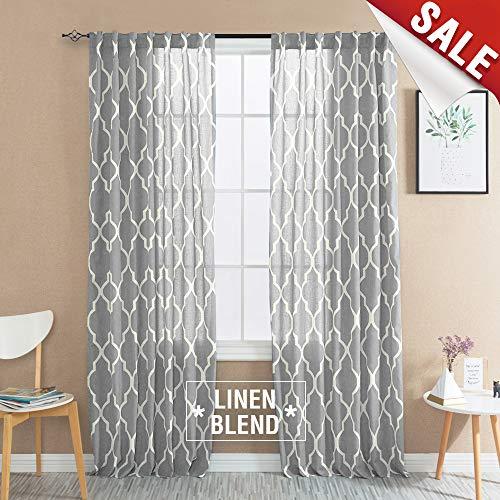 jinchan Grey Moroccan Tile Print Curtains for Bedroom Curtain - Quatrefoil Flax Linen Blend Textured Geometry Lattice Rod Pocket Window Treatment Set for Living Room - 50
