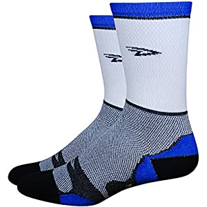 DeFeet Levitator Lite 5inch Stripe Cycling/Running Socks (white w/blue stripe - S)