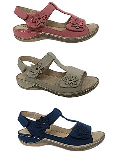 Ladies Cushion Walk Faux Suede Flower Peep Toe Sling Back Touch Close Straps Flat Low Wedge Comfort Summer Sandals Size 3-8 Coral oB4OH