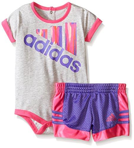 Adidas Baby Girls Bodysuit and Short Set