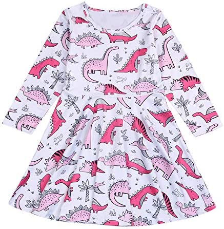 YOUNGER TREE Kids Girl Cartoon Dinosaur Print Tunic Casual Princess Party Dress Sundress