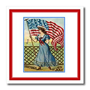 ht_174713_2 Florene - Holiday - image of victorian lady in sailor dress with july fourth greetings - Iron on Heat Transfers - 6x6 Iron on Heat Transfer for White Material