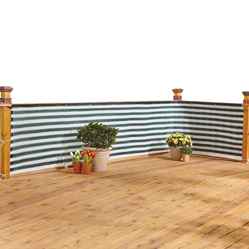 Deck & Fence Privacy Durable Waterproof Netting Screen with Grommets and Reinforced Seams, Green Stripe