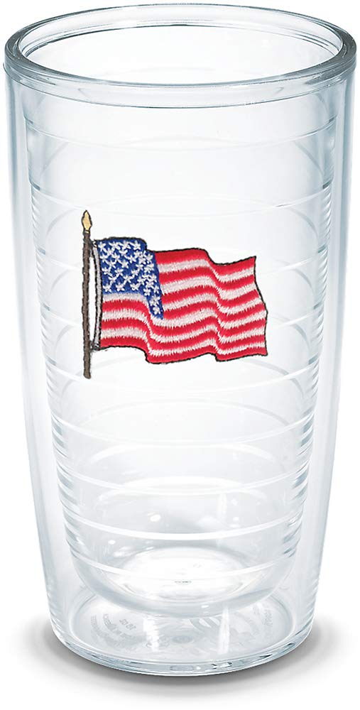 Tervis 1196622 American Flag Insulated Tumbler with Emblem 16oz Clear