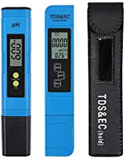 CAMWAY Digital PH Meter + LCD TDS EC Water Purity PPM Filter Hydroponic Pool Tester Pen